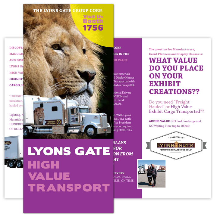 Tri-fold brochure for Lyons Gate Transport